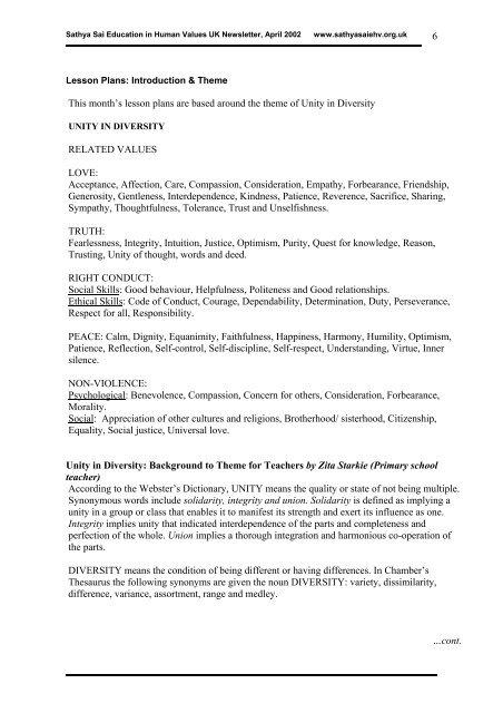 News Items: - Sathya Sai Education in Human Values