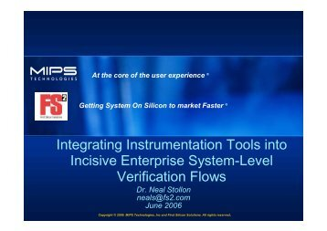 Integrating Instrumentation Tools into Incisive Enterprise System ...