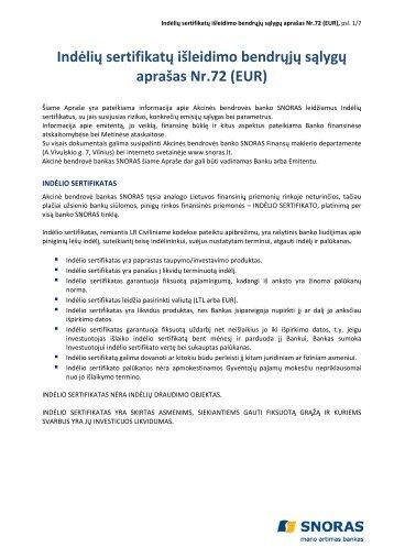 Indėlių sertifikatų išleidimo bendrųjų sąlygų aprašas Nr.72 ... - Snoras
