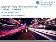 Öffentlich-Private Partnerschaftsmodelle im Bereich E-Mobilität