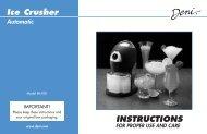 INSTRUCTIONS Ice Crusher - Deni