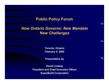 New Mandate New Challenges - Public Policy Forum