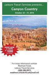 CANYON COUNTRY $2729 - 9 days, 12 meals, 23 - 31 OCT 2014