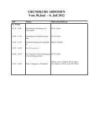 GRUNDKURS ABDOMEN Vom 30.Juni – 6. Juli 2012 - SGUM
