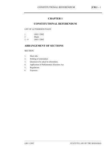 Constitutional Referendum Act - The Bahamas Laws On-Line
