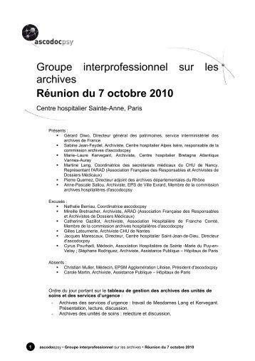 Groupe interprofessionnel sur les archives Réunion ... - Ascodocpsy