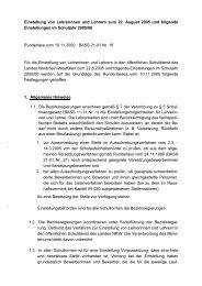 Einstellung von Lehrerinnen und Lehrern zum 22. August 2005 und ...