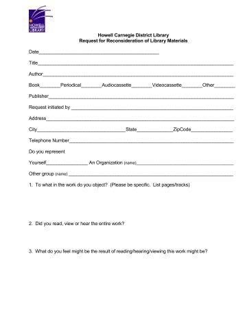 Materials Reconsideration Form [pdf] - Calvert Library