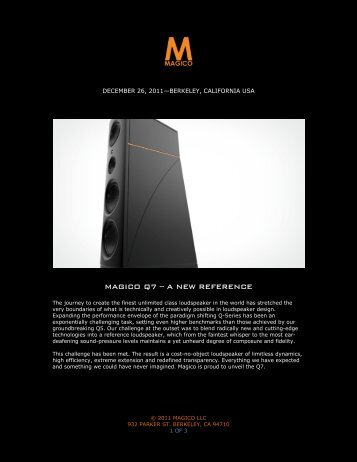 MAGICO Q7 – A NEW REFERENCE - Goodwin's High End