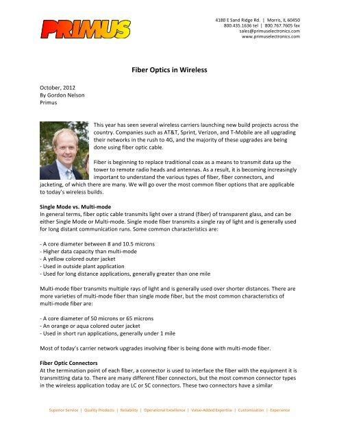 Fiber Optics in Wireless - Primus Electronics Corporation