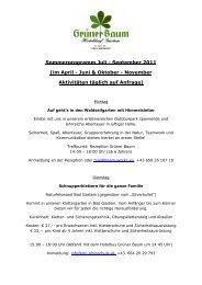 Sommerprogramm Juli - September 2011 - Das Hoteldorf Grüner ...