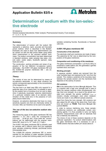 Determination of sodium with the ion-selec- tive electrode - Metrohm
