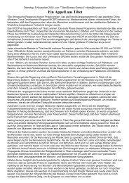 Ein Appell aus Tibet