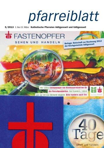 Pfarreiblatt Nr. 05/2013 - Pfarrei St. Martin Adligenswil