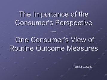 The Importance of the Consumer's Perspective - Australian Mental ...