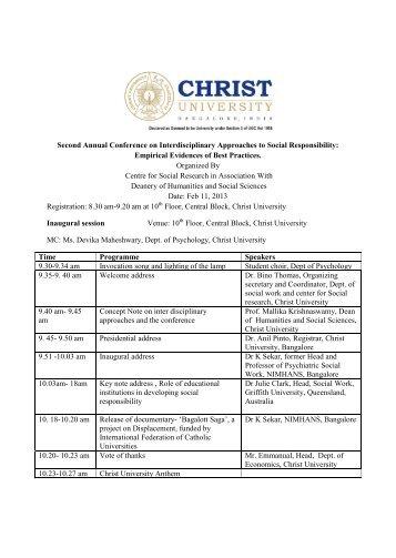 Second Annual Conference on Interdisciplinary ... - Christ University