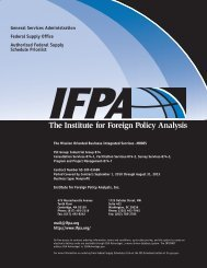 Federal Supply Schedule Pricelist - Institute for Foreign Policy Analysis