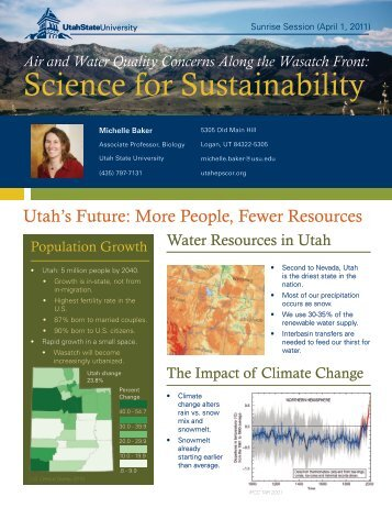 Science for Sustainability - Utah State University