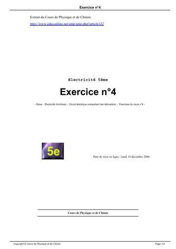 Exercice n°4 - Cours de physique et de chimie