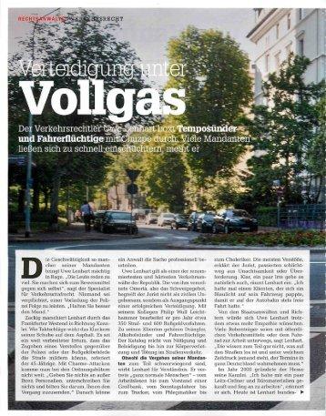 Verteidigung unter Vollgas - Rechtsanwalt Uwe Lenhart