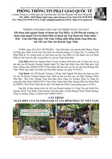 Tcbc 2012.08.28 - Trai Hieu va Hanh cua GDPTVN hop tai Hue ...