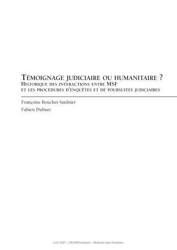 témoignage judiciaire ou humanitaire - Groupe URD