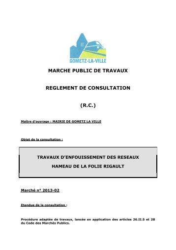 MARCHE PUBLIC DE TRAVAUX REGLEMENT ... - Gometz La Ville