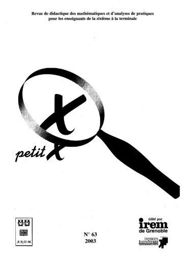 Petit X - IREM de Grenoble - Université Joseph Fourier