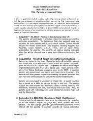 Chapel Hill Elementary School 2012 – 2013 School Year Title I ...