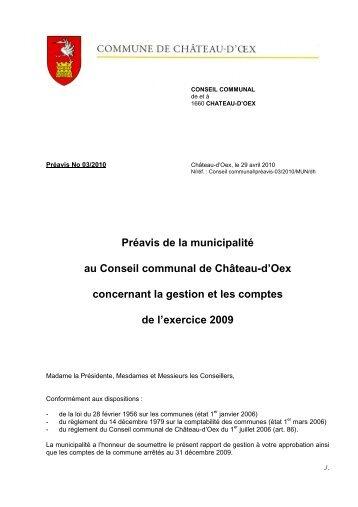 Preavis 3 - 2010 - Gestion et comptes 2009 - Château-d'Oex