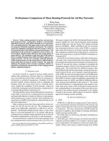 Performance comparison of three routing protocols for ... - IEEE Xplore