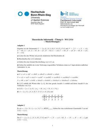 Lösungen 6. Übung Theoretische Informatik - Fachbereich Informatik