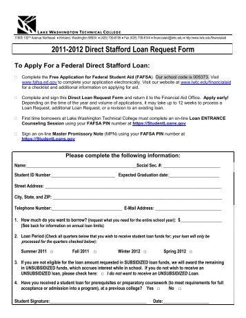 Federal Direct Stafford Loan Request Form - Belmont College