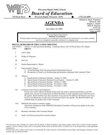 Board Agenda for 11-10-08 - Wisconsin Rapids Public Schools