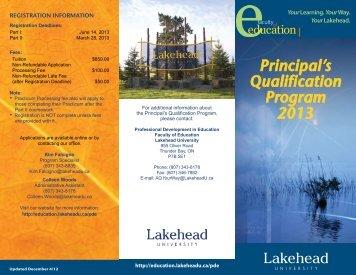 PQP 2013 Brochure - Faculty of Education - Lakehead University