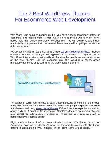 The 7 Best WordPress Themes For Ecommerce Web Development