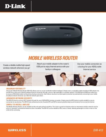 MOBILE WIRELESS ROUTER - D-Link