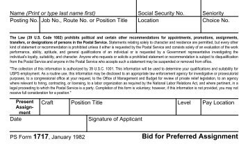 PS Form 1717, Bid for Preferred Assignment - branch 38