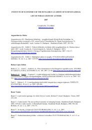 LIST OF PUBLICATIONS BY AUTHOR 2007 Compiled by ... - MTA KTI