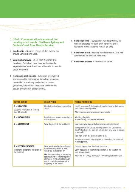 Handover guidelines