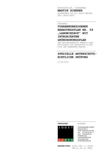Langwiedhof: Spezielle artenschutzrechtliche Prüfung - VG Mering