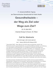 Call for Abstracts für die - Public Health