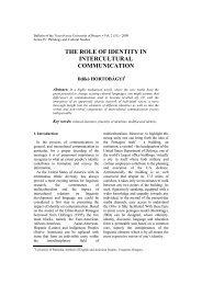 Hortobágyi, I.: The Role of Identity in Intercultural Communication