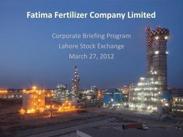 Fatima Fertilizer Company Limited - Lahore Stock Exchange