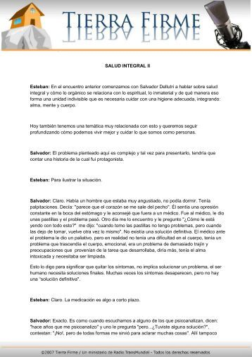 SALUD INTEGRAL II Esteban: En el encuentro ... - Tierra Firme