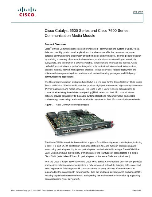 Cisco Catalyst 6500 Series and Cisco 7600 Series