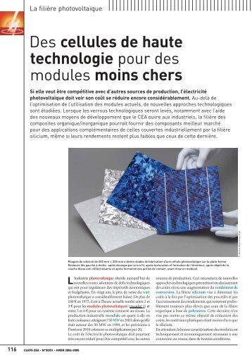 Des cellules de haute technologie pour des modules moins ... - CEA
