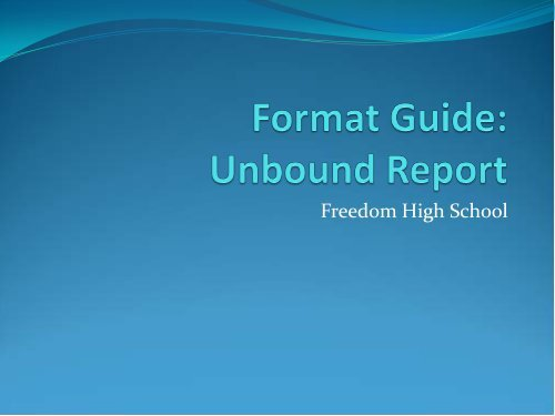 Format Guide: Unbound Report