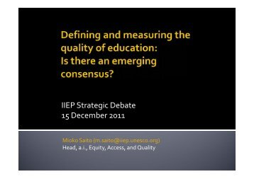 IIEP Strategic Debate 15 December 2011 - IIEP - Unesco