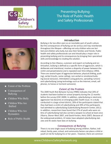Preventing Bullying: The Role of Public Health and Safety ...